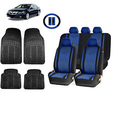 BLUE & BL HONEYCOMB SEAT COVERS AIRBAG READY SPLIT BENCH MATS FOR CARS 1544