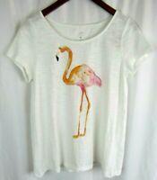 J JILL Beach Tee Collection Flamingo Womens 100% Cotton Short Sleeve Small