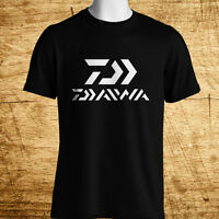 New Daiwa Fishing Logo Short Sleeve Men's Black T-Shirt Size S-5XL