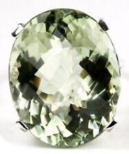 Green Amethyst, 925 Sterling Silver Ladies Ring, SR129-Handmade