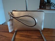 Authentic Coach 58423B Metallic Platinum Gold Corner Zip Wristlet Wallet NWT NWT