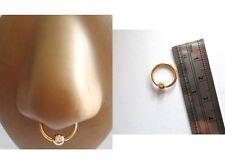 Hoop Nose Septum Ring 16 gauge 16g Gold Titanium Captive Clear Cz Crystal Bead