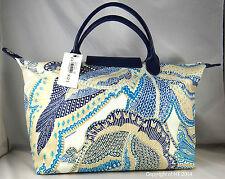 Longchamp FLEURS DE RAVELLO LARGE BLUE INDIGO DUFFLE BAG