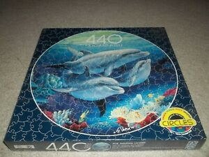 New Seal F.X. Schmid Dolphin Lovers Circle 440pc 20.5 Puzzle Sherry Vintson 1994