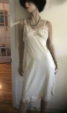 Vintage Fashion Fit  Full Slip Peticoat Cream With Fancy Lace Trim Size 34