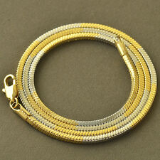Jewellery Yellow White Gold Filled Womens Mens Silver Snake Chain Necklace