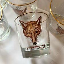 Abercrombie & Fitch x5 Fox Old Fashioned Glasses Hand Paint Cyril Gorainoff Vtg