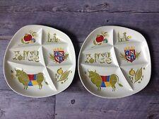 "Lot of 2 Vintage10"" Fondue Divided Plates Pommard Salins France Mid century"