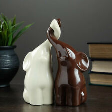 Pair Of Brown And White Elephants Figurine Sculpture Statue Collectible Figure