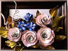 Lederbild in 3D Optik - Neu & OVP -A-K2-9- Blumen - Holzrahmen - Handarbeit