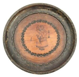 Vintage Pyrography Wood Wall Plate St Anne Bretons 1953 Signed Gab France OOAK