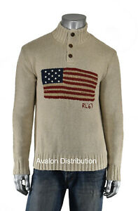 Polo Ralph Lauren Beige Cotton Linen USA American Flag Turtleneck Sweater New