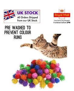 Set of 8 Pom Pom Tinsel Balls Cat Kitten Chase Toy 3cm Play Fun UK Seller