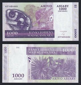 Madagascar 1000 ariary on 5000 francs 2004 FDS/UNC  A-04
