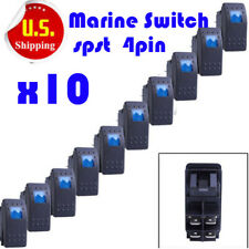 10x Custom DIY Rocker Switch  Blue Led 4 Pin ON/OFF SPST Marine Grade US 2019
