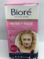 Biore Deep Cleansing Nose + Face Pore Strips, 14 Total , 7 Nose & 7 Face