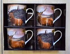 Set of 4 China Mugs British Wildlife Stag 2 Designs Gift Boxed Lp93096 HIGHLANDS