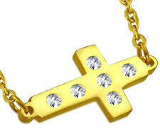 Women Stainless Steel Yellow Latin Cross Link Chain Pendant Charm Necklace CZ