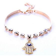 New Fill Crystal Hamsa Hand Charms Bracelet Vintage Enamel Evil Eye Bracelete JR