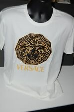 Mens VERSACE COLLECTION Medusa White Gold Logo T Shirt Mens XL