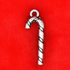 10 x Tibetan Silver XMAS Christmas Candy Cane Charm Pendant Finding Bead Making