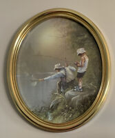 """Homco Home Interiors Boys Fishing Picture-Molded Gold Oval Frame 22""""x18"""""""
