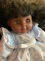 "Vintage African American 12"" Doll Beautiful powder blue Dress Simba Toys"