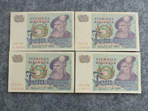 5 KRONOR 1981  SWEDEN P#51d  4 notes