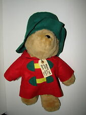 "Vtg Sears Paddington Bear Plush Stuffed Doll Christmas Green Red w Tag 17"""