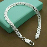 925 Solid Silver Bracelet Fashion Jewelry Women 5MM Snake Chain Bangle Gift JP