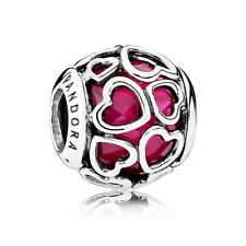 AUTHENTIC PANDORA Sterling Silver Encased in Love Cerise Crystal Charm 792036NCC