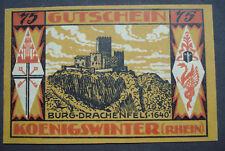 Notgeld-Schein 1921 Stadt Königswinter Rhein Westfalen, 75 Pfg Burg Drachenfels