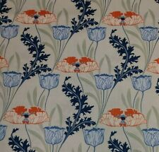 BTY Timeless Treasures ART NOUVEAU Orange Blue Floral COTTON Quilting Fabric
