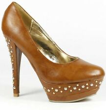 Whisky Brown Faux Leather Studded High Heel Double Platform Pump Wild Diva