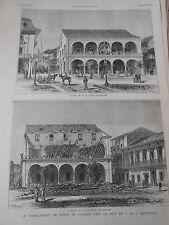 Gravure 1882 - Le tremblement de Terre de Panama