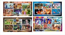 DISNEY CARTOONS 7 SOUVENIR SHEETS MNH IMPERFORATED animation