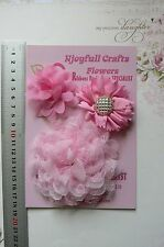 HANDMADE 3 Mixed Flowers PINK Organza Lace 60 & 100mm Njoyfull Crafts