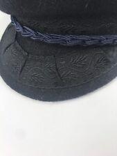 Black Authentic Greek Wool Cotton Blend Fisherman's Hat Cap Size 62 - 7 3/4