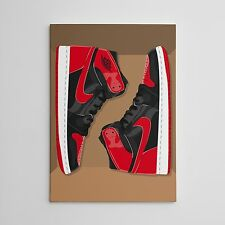 Air Jordan Banned Og Bred 1's Gallery Art Canvas 11in x14in