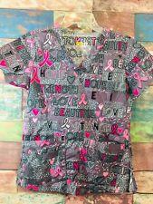 a5faecf20e4 WonderWink WonderFLEX Women's Gray/Pink Breast Cancer HOPE Printed V-Neck  ...