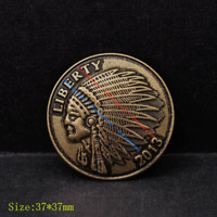"10X 1-1/2"" Retro Brass Tribal Southeast Western Indian Head Liberty Coin Concho"