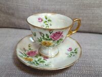 June Rose Gold Trim Vintage Lusterware Tea Cup with Saucer