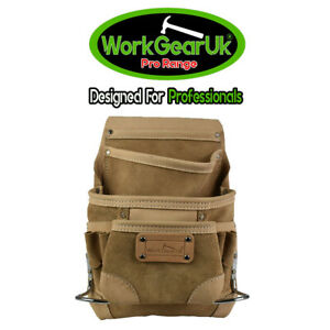 WorkGearUK Tool Pouch 10 Pocket Heavy Duty Top Grain Leather NuBuck - WG-PX33