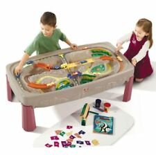 Kids Train Toy Set, Deluxe Children Canyon Road Train And XL Track Table Playset