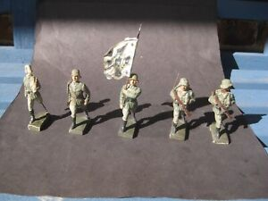 5 Vintage Lineol German Soldiers In Different Poses Marching flag bearer WWII