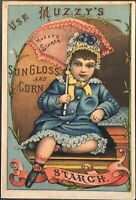Girl All In Blue Holds Pink Parasol ~ Muzzy's Sun Gloss Corn Starch Trade Card