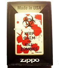 Zippo Custom Lighter Keep Calm & Kill Zombies Bloody Blood Splatter White Pocket