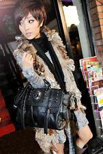 Fashion Women Pu Leather Punk Skull Rivet Shoulder Handbag School Satchel Bag