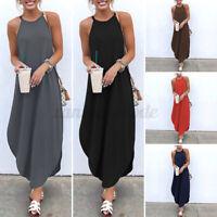 Mode Femme Casual Loose Sans Manche Plage Party Club Dress Robe Dresse Midi Plus