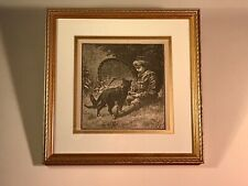 "Framed Book Plate Illustration from 1889 Book ""In Picture Land"" Boy with Cat"